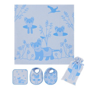 Breganwood Organics Muslin Swaddle, Bib & Wash Cloth Set, Blue Ferret Prairie Collection