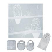 Breganwood Organics Muslin Swaddle, Bib & Wash Cloth Set, Grey Owl Prairie Collection, Designed By Harmony Art