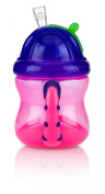 Nuby Two Handle Flip-N-Sip Straw Cup, Pink with Purple, 12 Plus Months
