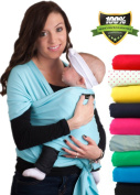 LIFETIME GUARANTEE - CuddleBug Baby Wrap Carrier - Light Blue Baby Wrap - Free Shipping - ALL NATURAL BABY CARRIER- One Size Fits All - Money Back Guarantee