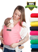 LIFETIME GUARANTEE - CuddleBug Baby Wrap Carrier - Pink Baby Wrap - Free Shipping - ALL NATURAL BABY CARRIER- One Size Fits All - Money Back Guarantee
