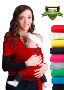 LIFETIME GUARANTEE - CuddleBug Baby Wrap Carrier - Red Baby Wrap - Free Shipping - ALL NATURAL BABY CARRIER- One Size Fits All - Money Back Guarantee