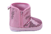 Elee Girls Sequin Baby Shoes Toddler Boots Anti Slip Soft Sole Crib Sequins Zipper High Boot 3-18 Months