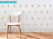 Raindrop Fabric Wall Decals - Set of 40 Raindrops Wall Pattern Decals - Beige - Reusable, Repositionable