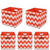 Modern Littles Organisation Bundle Storage Bins, Bold Red Chevron, 5 Count