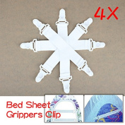 ACE 4 Pcs of Bed Sheet Fasteners Elastic Grippers Clip Holder