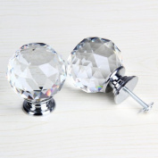 50mm Clear Crystal Glass Door Knob Cabinet Cupboard Pull Drawer Handle Kitchen Wardrobe Home Hardware Come with Screw 1PCS