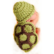 E-Tribe Handmade Newborn Boy Girl Cute Turtle Tortoise Crochet Cotton Knit Costume Photo Prop Green