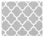 Grey and White Trellis Print Lattice Accent Floor Rug
