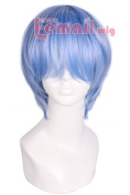 25cm Short Light Blue Anime Evangelion Cosplay Wig Party Hair Cw183