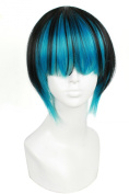 L-email 25cm / 9.84inch Short Harajuku Mix Black & blue Straight Costumes Wigs C58