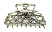 Top Quality Womens Rhinestone X-Large Metal Claw Hair Clip Antique Silver 6 Colours