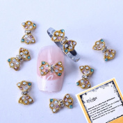 New Rainbow Crystal Series Nail Art Decorations Golden Hollowed Bowtie Shaped 3d Nail Art Decals + A Unique Ring free Gift