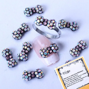 Colourful Sparkling Rhinestones Round Bowtie Designed New Rainbow Crystal Series Nail Art Decorations + A Unique Ring free Gift