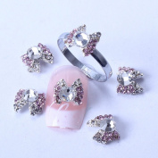 Cute Pink New Rainbow Crystal Series Nail Art Decorations Bowtie Designed Nail Decals + A Unique Ring free Gift
