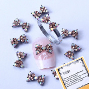 Champagne Rhinetones Bowtie Designed New Rainbow Crystal Series Nail Art Decorations + A Unique Ring free Gift