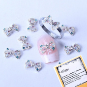 New Rainbow Crystal Series Nail Art Decorations Hollowed Bowtie Shaped 3d Nail Art Decals + A Unique Ring free Gift