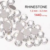 1440pcs Austria Crystal Clear 1.2mm-3.2mm Cut Round Rhinestones 3D Nail Art Decoration