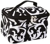 18cm Damask Print Cosmetic Bag w/ Black Trim
