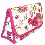 Cosmetic Bag with a Mirror, Cotton Fabric, Small Size, Pink Rose