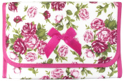 Cosmetic Bag with a Mirror, Cotton Fabric, Large Size, Pink Rose