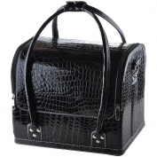 "AW Black 11x 9"" x 25cm Crocodile Makeup Cosmetic Train Bag Handbag Case w/ Removable Tray Jewellery Ring"