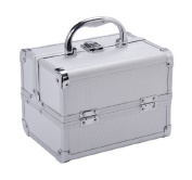 Soozier Makeup/Jewellery Train Case with Mirror - Silver