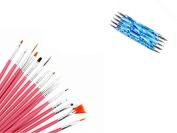 15pcs Pink Nail Brushes & 5pcs Blue Dotting Pen Marbleizing Tool