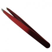 Tweezers Slanted Tip Red / Eyebrow Brow Underarm Hair Removal Beauty Trimmers by Bellesha