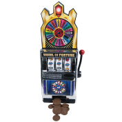 Miniature Wheel Of Fortune Slot Machine Bank - Spin For Savings Or A Jackpot