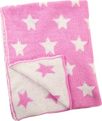 Manual Pink Stars Baby Girl Knitted Polyester Fleece Reversible Nursery Blanket Throw 80cm x 100cm