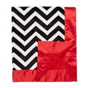 My Blankee Chevron with Minky Dot Velour Baby Blanket, Black/White/Red, 80cm x 90cm
