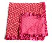 Baby Minky Receiving Blanket - Quatrefoil Fuchsia