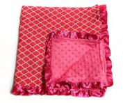 Baby Minky Receiving Blanket - Quatrefoil Fuchsia