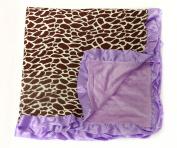 Baby Minky Receiving Blanket - Lavender Giraffe