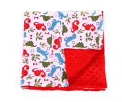 Baby Minky Receiving Blanket - Red Dinosaur