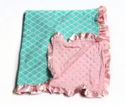 Baby Minky Receiving Blanket - Quatrefoil Pink and Aqua