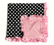 Baby Minky Receiving Blanket - Black/White Dot with Pink