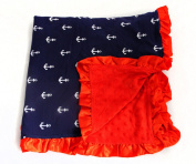 Baby Minky Receiving Blanket - Blue and Red Anchor