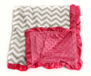 Baby Minky Receiving Blanket - Grey and Hot Pink Chevron