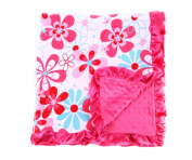 Baby Minky Receiving Blanket - Hot Pink Floral