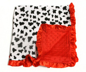 Baby Minky Receiving Blanket - Black and Red Cow