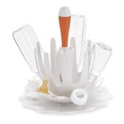 SKIP*HOP' Splash White Bottle Drying Rack with Tangerine Brush
