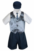 Leadertux 5pc Baby Toddler Boys Dark Grey Vest Necktie Navy Blue Shorts Cap S-4T