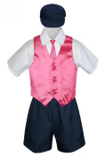 Leadertux 5pc Baby Toddler Boys Coral Red Vest Necktie Navy Blue Shorts Cap S-4T