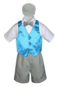 Leadertux 5pc Formal Baby Toddler Boys Turquoise Vest Light Grey Shorts Cap S-4T (S: