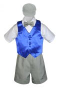Leadertux 5pc Formal Baby Toddler Boys Royal Blue Vest Lt. Grey Shorts Cap S-4T (XL: