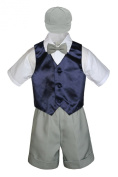 Leadertux 5pc Formal Baby Toddler Boys Navy Blue Vest Light Grey Shorts Cap S-4T