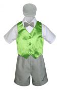 Leadertux 5pc Formal Baby Toddler Boy Lime Green Vest Light Grey Shorts Cap S-4T