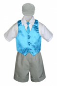 Leadertux 5pc Baby Toddler Boy Turquoise Vest Necktie Set Silver Shorts Cap S-4T (XL: